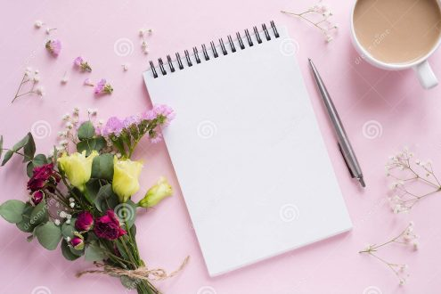bouquet-flowers-notebook-pen-cup-coffee-bouquet-flowers-notebook-pen-cup-coffee-pink-background-172938232